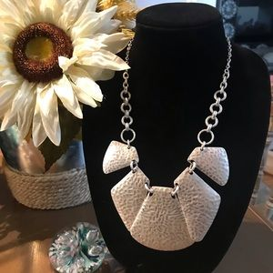 Silver Tone Hammered Silver Tone Necklace